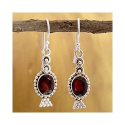 Sterling Silver 'Light of Love' Garnet Dangle Earrings (India)