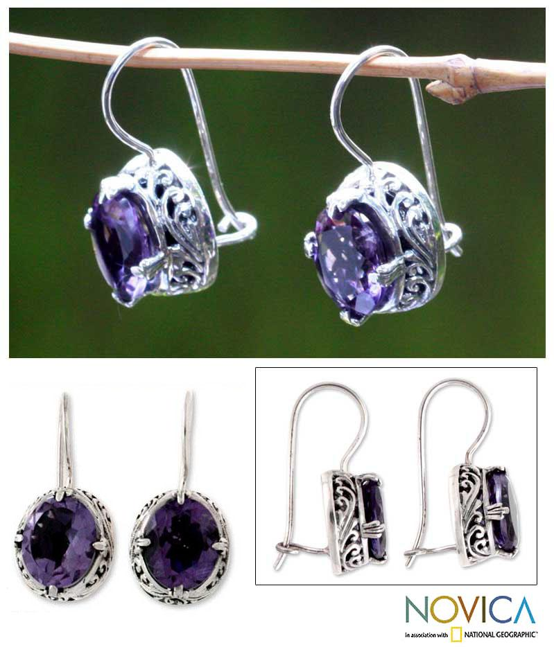 Angel Oval Faceted 5 TCW Purple Amethysts with Ornate Prong Setting Womens Dangle Earrings (Indonesia)