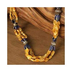 Sterling Silver 'Sunny Sky' Citrine and Lapis Long Necklace (India)