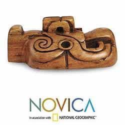 Hand-carved Cedar Wood 'Jaguar Mystery' Mask (El Salvador)