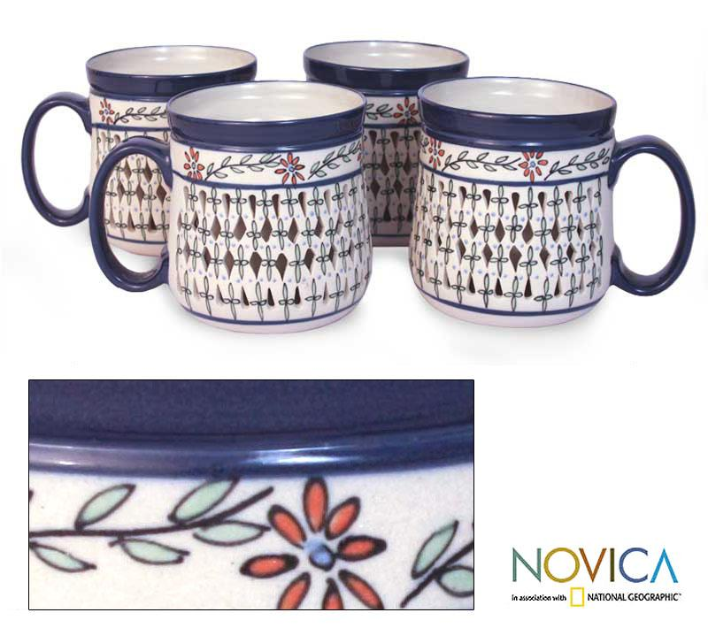 Set of 4 Handcrafted 'Sierra Wonders' Ceramic Mugs (Mexico)