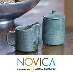 Ceramic 'Spanish Moss' Sugar Bowl and Creamer (El Salvador)