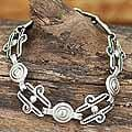 Sterling Silver Handcrafted 'Aztec Royalty' Chain Bracelet (Mexico)