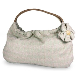Cotton 'Natural Blossom' Medium Baguette Handbag (Guatemala)