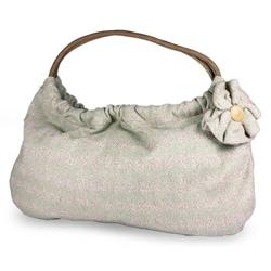 Cotton 'Natural Blossom' Medium Baguette Handbag (Guatemala)