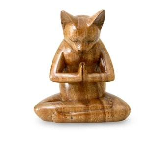 Suar Wood 'Kitty Cat Prayer' Sculpture, Handmade in Indonesia