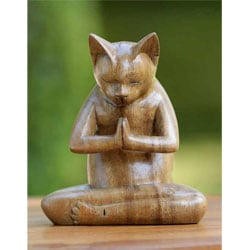 Suar Wood 'Kitty Cat Prayer' Sculpture (Indonesia)