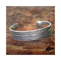 Sterling Silver 'Parallel Splendor' Cuff Bracelet (Thailand)
