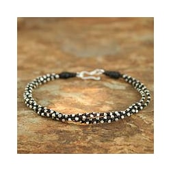 Handcrafted Silver 'Hill Tribe Dreams' Braided Bracelet (Thailand)