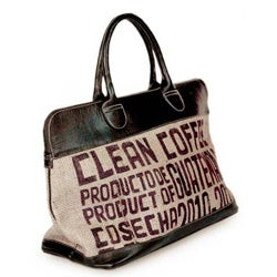 Jute and Leather 'Clean Coffee' Large Travel Bag (Guatemala)