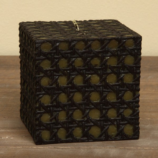 Natural Light Open Weave Rattan Green/ Brown Candles (Set of 3)