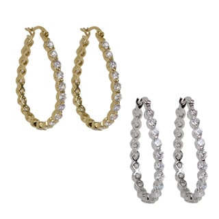 NEXTE Jewelry Silvertone or Goldtone Cubic Zirconia High-Polish Hoop Earrings