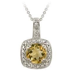 Glitzy Rocks Sterling Silver Citrine and Diamond Accent Necklace