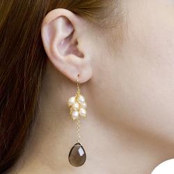 Adee Waiss Freshwater Pearl and Smokey Quartz Earrings