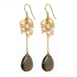Adee Waiss Freshwater Pearl and Smokey Quartz Earrings