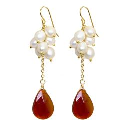 Adee Waiss Freshwater Pearl and Red Agate Earrings