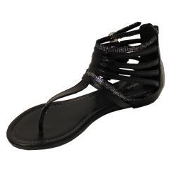 Oceanstar Women's Black Strappy Thong Sandals