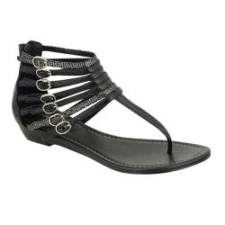 Oceanstar Women's Black Strappy Thong Sandals