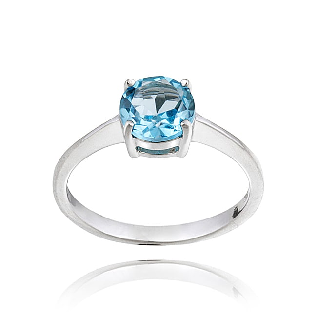 Glitzy Rocks Sterling Silver 1 1/2ct TGW Swiss Blue Topaz Solitaire Ring