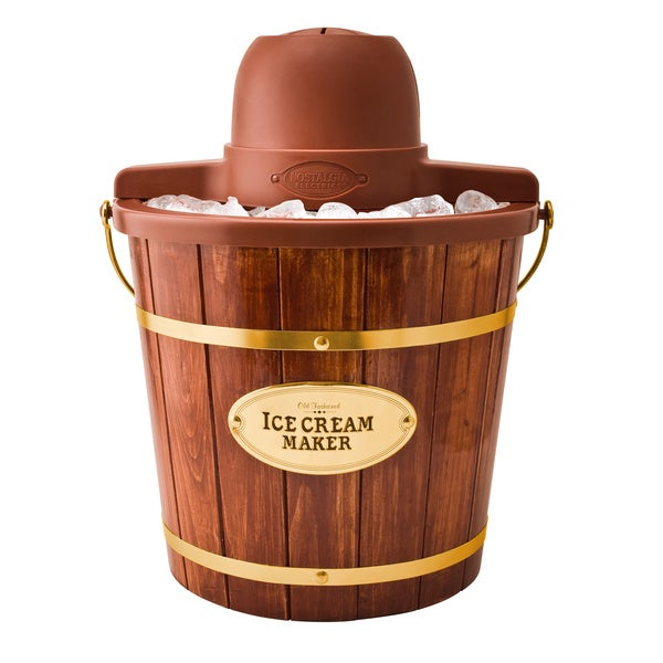 Wooden Bucket ICMW400 4-quart Electric Ice Cream Maker