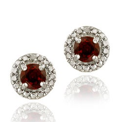 Glitzy Rocks Sterling Silver Garnet and Diamond Button Earrings
