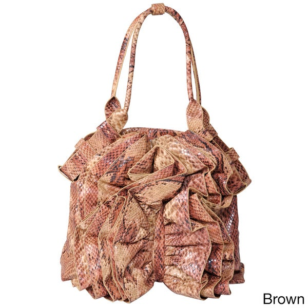 Journee Collection Women's Ruffled Python Print Shopper Bag