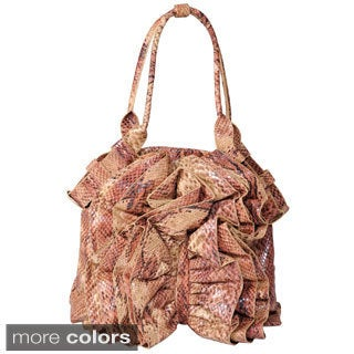 Journee Collection Women's Ruffled Python Print Shopper Bag