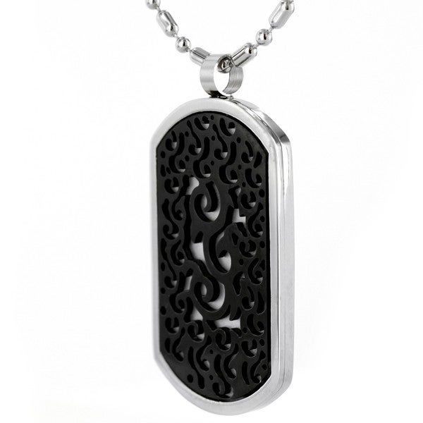 Stainless Steel Black Tribal Dog Tag Necklace