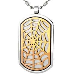 West Coast Jewelry Stainless Steel Bronze Tone Web Dog Tag Necklace