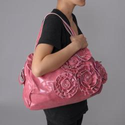 Journee Collection Women's Rosette Accent Crinkle Bowler Bag