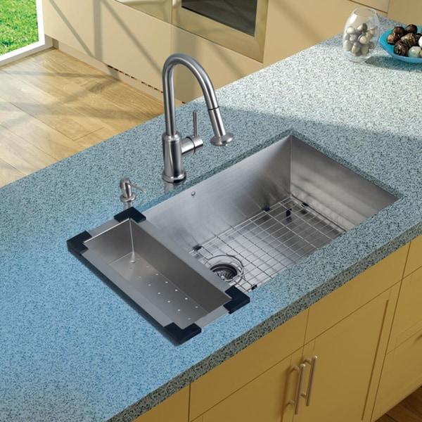 VIGO Undermount Kitchen Sink/ Faucet/ Colander/ Grid/ Strainer/ Dispenser