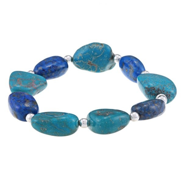 Glitzy Rocks Silver Turquoise and Lapis Nugget Stretch Bracelet