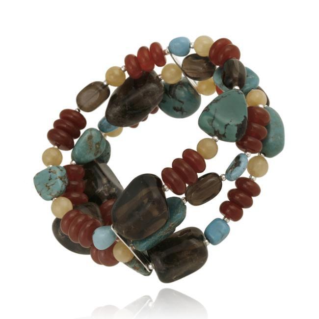 Glitzy Rocks Sterling Silver Multi-gemstone 3-row Bracelet