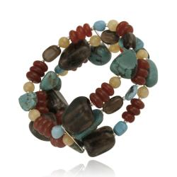Glitzy Rocks Sterling Silver Multi-gemstone 3-row Bracelet