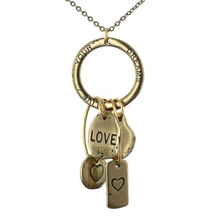 West Coast Jewelry Goldtone Inspired Messages Charm Necklace
