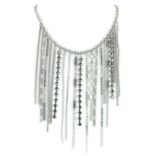 West Coast Jewelry Silvertone Hanging Chains Bib Necklace