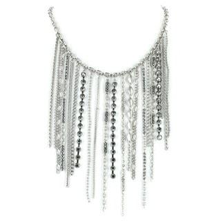 West Coast Jewelry Silvertone Hanging Chains Bib Necklace