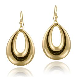 Mondevio 18k Gold over Stainless Steel Oval Dangle Earrings