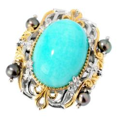 Michael Valitutti Two-tone Amazonite, Mabe Pearl and Blue Sapphire Ring