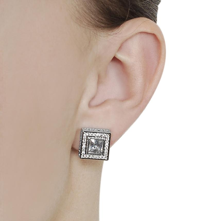 Journee Collection Silvertone Pave-set and Princess-cut CZ Stud Earrings