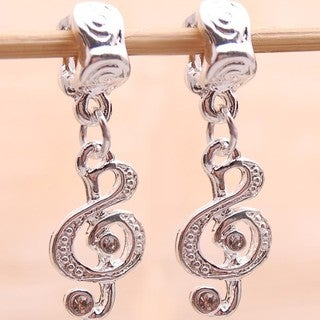 Silverplated Music Note Dangle Charm Beads (Set of 2)