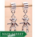 Silverplated Teddy Bear Dangle Charm Beads (Set of 2)