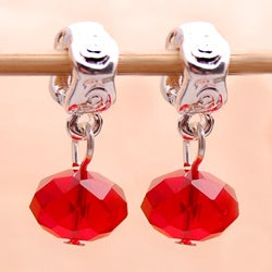 Silverplated Swirl Finding Red Crystal Dangle Charm Beads (Set of 2)