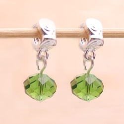 Silverplated Green Crystal Dangle Charm Beads (Set of 2)