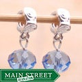 Silverplated Swirl Finding Blue Crystal Dangle Charm Beads (Set of 2)