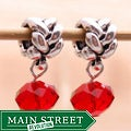 Silverplated Braiding Finding Red Crystal Dangle Charm Beads (Set of 2)