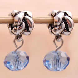 Silverplated Braided Finding Blue Crystal Dangle Charm Beads (Set of 2)