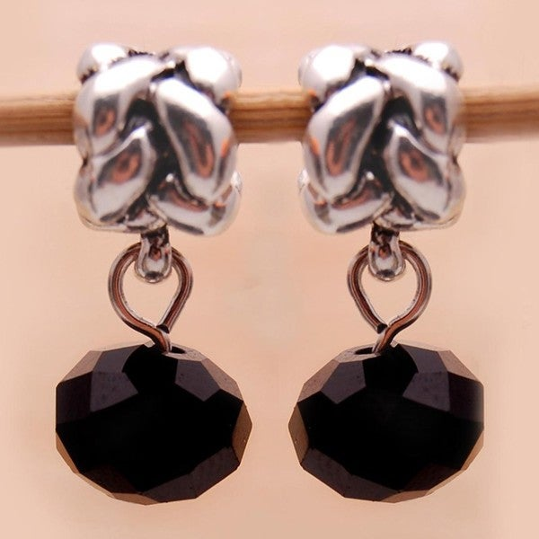 Silverplated Black Crystal Dangle Charm Beads (Set of 2)
