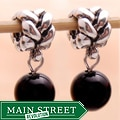 Silverplated Black Bead Dangle Charm Beads (Set of 2)