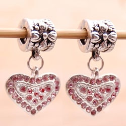 Silverplated Pink Crystal Heart Charm Beads (Set of 2)